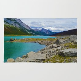 Medicine Lake in the Maligne Valley of Jasper National Park, Canada Rug