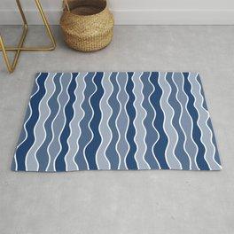 Blue Mid Century Modern Abstract Wave Pattern // Medium Vertical Wavy Lines Rug