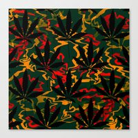 rasta Canvas Prints featuring Rasta Leaves... by Cherie DeBevoise