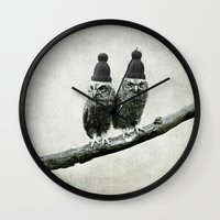 owls Wall Clocks featuring Owls by Juste Pixx Designs