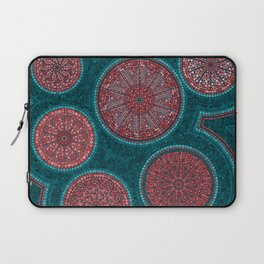 Dot Art Circles Abstract Living coral and teal Laptop Sleeve
