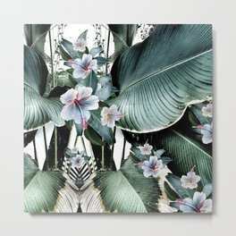 Banana leaf tropical paradise, leaves, hibiscus, Hawaii Metal Print