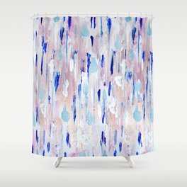 Abstract Painting Blue Pink Copper Shower Curtain
