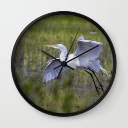 Egret in Flight Wall Clock