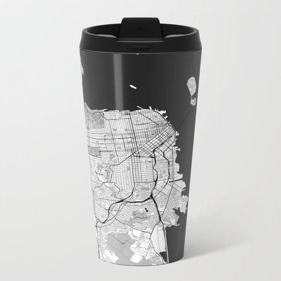 San Francisco Map Gray Metal Travel Mug