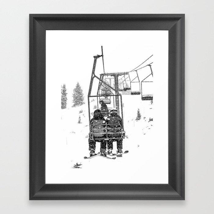 Snow Lift // Ski Chair Lift Colorado Mountains Black and White Snowboarding Vibes Photography Gerahmter Kunstdruck