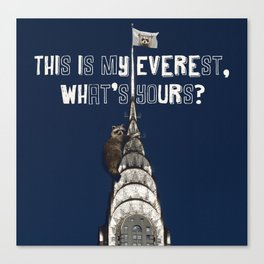 This Is MY Everest, What's Yours? (Raccoon Climbs Skyscraper) Canvas Print