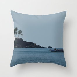 Boat in Palolem Bay Throw Pillow
