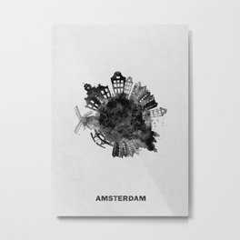 Amsterdam, The Netherlands Black and White Skyround / Skyline Watercolor Painting Metal Print