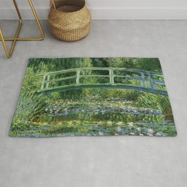 Water Lilies and Japanese Footbridge, Claude Monet Rug