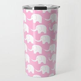 Elephant Parade on Pink Travel Mug