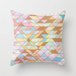 Triangle Pattern No. 25 Gold Pink Turqouise Throw Pillow
