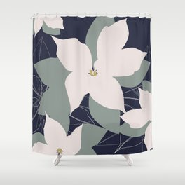 Leafy Floral Collage on Navy Shower Curtain