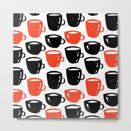 Quirky cool coffee cups pattern Metal Print