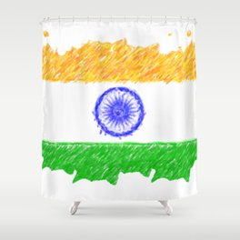 painting artistic effect india flag Shower Curtain