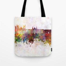 Trondheim skyline in watercolor background Tote Bag
