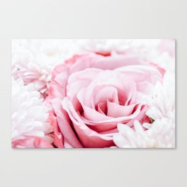 Pink Roses and Gerbera Daisy Flowers Wedding Bouquet, Love Photo, Romantic Celebration, Wall Art Canvas Print