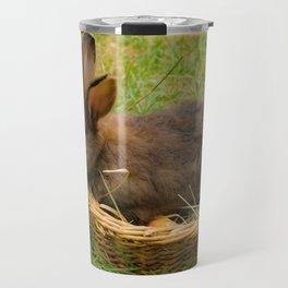 Little rabbit in the basket Travel Mug