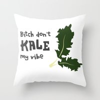 humor Throw Pillows featuring Kale humor by A*WIZ