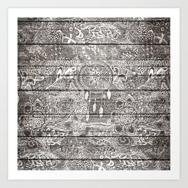 Boho white rustic dreamcatcher floral doodles brown striped wood Art Print