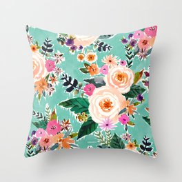 GOOD MOOD Aqua Watercolor Floral Throw Pillow
