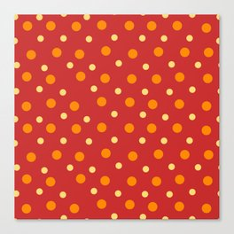 Red Yellow Orange Dots Pattern Canvas Print