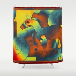 Abstract ART - Simply A Horse - blue red yellow Shower Curtain