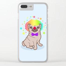 Pug dog in a clown costume Clear iPhone Case
