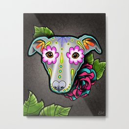 Greyhound - Whippet - Day of the Dead Sugar Skull Dog Metal Print