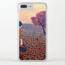 woman with flowers Clear iPhone Case