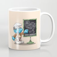 attack on titan Mugs featuring Attack on Titan Smurf Edition by Purrdemonium