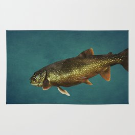 Trout on Teal Blue Rug