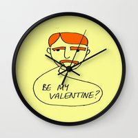 70s Wall Clocks featuring 70s Valentine by MergersMergers