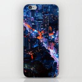 metropolis at night iPhone Skin