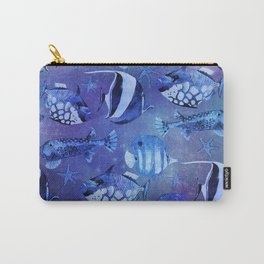 Watercolor fish pattern dark blue Carry-All Pouch