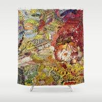 superheros Shower Curtains featuring BoooM by MelissaMoffatCollage