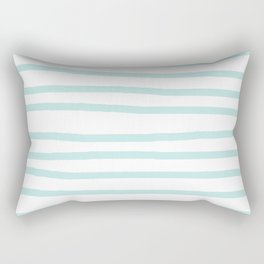 Simply Drawn Stripes Succulent Blue on White Rectangular Pillow