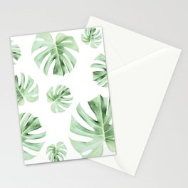 Tropical green leaves on white Stationery Cards