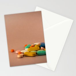 Colored medicines on a neutral pink background Stationery Cards