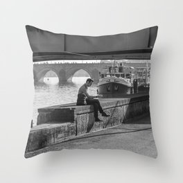 Relaxing Time Under The Bridge Throw Pillow