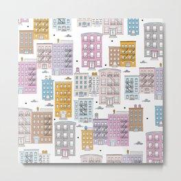 Manhattan brownstones New York travel pattern Metal Print