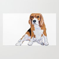beagle Area & Throw Rugs featuring Beagle by hadkhanong