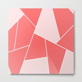 Geometric abstract - pink and white. Metal Print