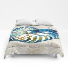 Beachy Art - Nautilus Shell Bleu - Sharon Cummings Comforters