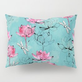 Waterlily dragonfly Pillow Sham