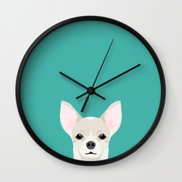 Chihuahua dog head pet art dog breed chihuahuas peeking Wall Clock