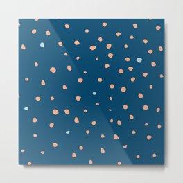 Dark blue deer dots pattern Metal Print