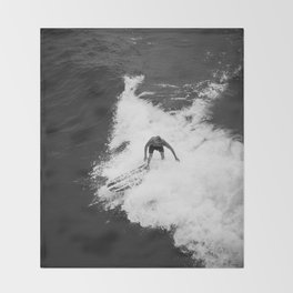 Black and White Wave Surfer Throw Blanket