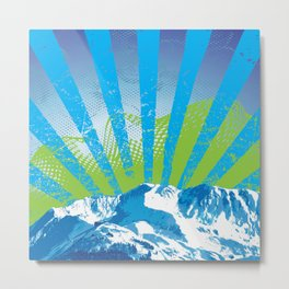Mt. Alyeska Ski Rise by Crow Creek Coolture Metal Print