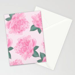 Pink Peonies on Pink Abstract Stationery Cards